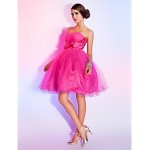TS Couture / Sweet 16 Dress - Fuchsia Plus Sizes / Petite Ball Gown / A-line Strapless Short/Mini Tulle Special Occasion Dresses