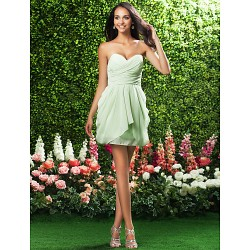 Short/Mini Chiffon Bridesmaid Dress - Sage Plus Sizes / Hourglass / Pear / Misses / Petite / Apple / Inverted Triangle / Rectangle