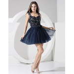 Formal Evening Dress - Ink Blue A-line Straps Short/Mini Chiffon Special Occasion Dresses