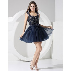 Formal Evening Dress Ink Blue A Line Straps Short Mini Chiffon