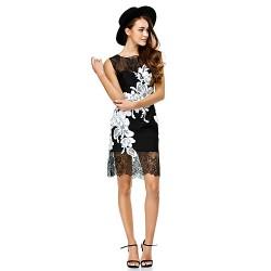 Cocktail Party Dress Black Sheath Column Scoop Short Mini Lace