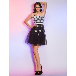 Cocktail Party / Homecoming / Holiday Dress - Black Plus Sizes / Petite A-line Spaghetti Straps Short/Mini Tulle / Organza