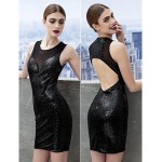 Cocktail Party Dress - Black Sheath/Column Scoop Short/Mini Sequined Celebrity Dresses