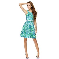 Cocktail Party Dress Print A Line Jewel Knee Length Chiffon
