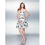 Cocktail Party / Prom Dress - Print Plus Sizes / Petite A-line Sweetheart Knee-length Stretch Satin Special Occasion Dresses