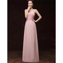 Formal Evening Dress - Blushing Pink A-line Strapless Floor-length Satin