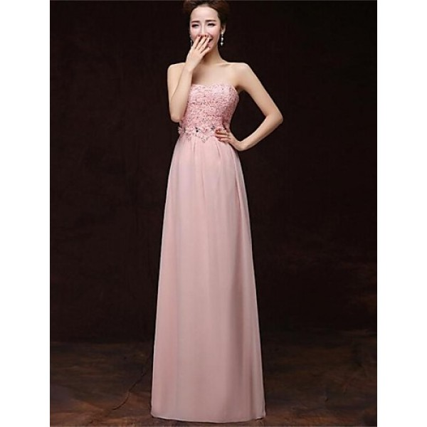 Formal Evening Dress - Blushing Pink A-line Strapless Floor-length Satin Special Occasion Dresses