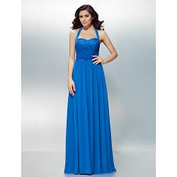 Formal Evening Dress Royal Blue Plus Sizes Petite A Line Halter Floor Length Chiffon Lace