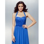 TS Couture Formal Evening Dress - Royal Blue Plus Sizes / Petite A-line Halter Floor-length Chiffon / Lace Special Occasion Dresses