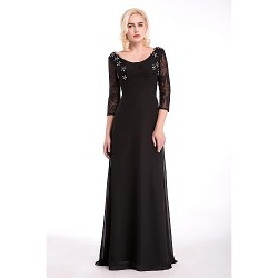 Formal Evening Dress - Black Sheath/Column Scoop Floor-length Chiffon
