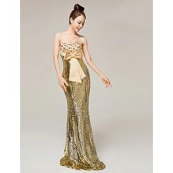 Formal Evening Dress Gold Trumpet Mermaid Sweetheart Floor Length Matte Satin