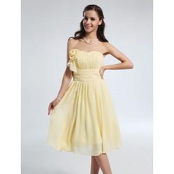 Knee Length Chiffon Bridesmaid Dress Daffodil Plus Sizes Petite A Line Princess Strapless Sweetheart