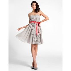Cocktail Party / Graduation Dress - Silver Plus Sizes / Petite A-line / Princess Sweetheart / Strapless Knee-length Chiffon