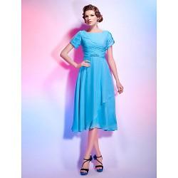 Cocktail Party Dress Pool Plus Sizes Petite A Line Princess Jewel Tea Length Chiffon