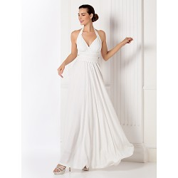 Formal Evening / Prom / Military Ball Dress - White Plus Sizes / Petite Sheath/Column Halter Floor-length Jersey