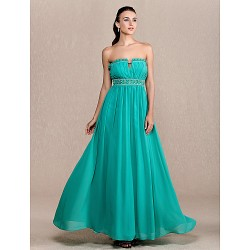 Formal Evening Prom Military Ball Dress Jade Plus Sizes Petite Sheath Column Strapless Ankle Length Chiffon