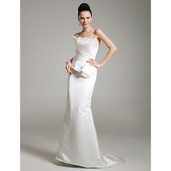 Formal Evening Military Ball Dress Ivory Plus Sizes Petite Trumpet Mermaid Strapless Sweep Brush Train Satin Tulle