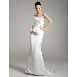 Formal Evening / Military Ball Dress - Ivory Plus Sizes / Petite Trumpet/Mermaid Strapless Sweep/Brush Train Satin / Tulle