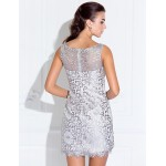 Cocktail Party / Holiday / Prom Dress - Ivory Plus Sizes / Petite A-line / Princess Bateau Short/Mini Stretch Satin Special Occasion Dresses