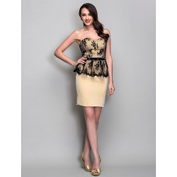 Cocktail Party Holiday Dress Champagne Plus Sizes Petite Sheath Column Sweetheart Short Mini Jersey