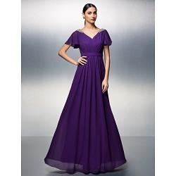 Dress Grape Plus Sizes Petite Sheath Column V Neck Floor Length Chiffon