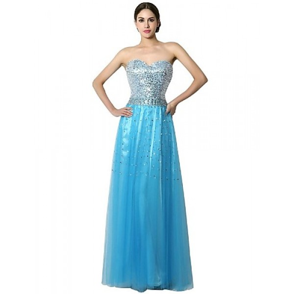 Formal Evening Dress - Blushing Pink / Champagne / Sky Blue / Ocean Blue Sheath/Column Sweetheart Floor-length Chiffon Special Occasion Dresses