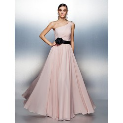 Dress - Blushing Pink Plus Sizes / Petite A-line One Shoulder Floor-length Chiffon