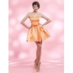 Cocktail Party / Homecoming / Sweet 16 Dress - Orange Plus Sizes / Petite Ball Gown Strapless / Sweetheart Short/Mini Satin Special Occasion Dresses
