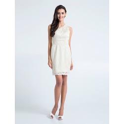 Short Mini Lace Bridesmaid Dress Ivory Plus Sizes Petite Sheath Column One Shoulder