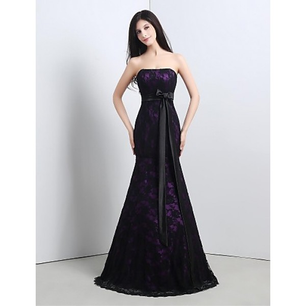 Formal Evening Dress - Grape Petite Trumpet/Mermaid Strapless Floor-length Lace Special Occasion Dresses