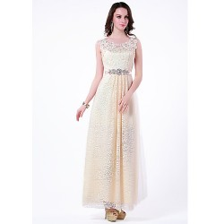 Formal Evening Dress Champagne Plus Sizes Petite A Line Jewel Floor Length Lace