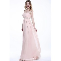 Formal Evening Dress - Blushing Pink Plus Sizes / Petite A-line Strapless Floor-length Chiffon