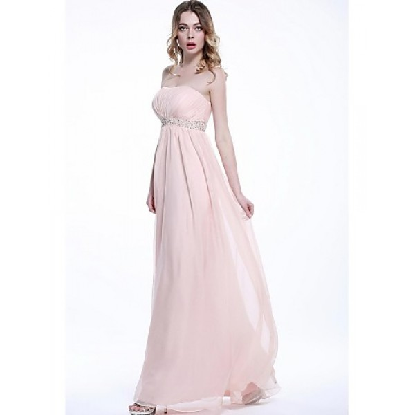 Formal Evening Dress - Blushing Pink Plus Sizes / Petite A-line Strapless Floor-length Chiffon Special Occasion Dresses