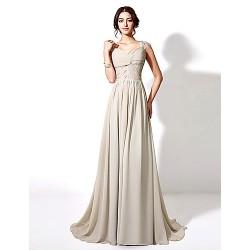 Formal Evening Dress - Silver Plus Sizes / Petite A-line Floor-length / Court Train