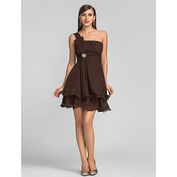 Cocktail Party Wedding Party Dress Chocolate Plus Sizes Petite A Line One Shoulder Short Mini Chiffon