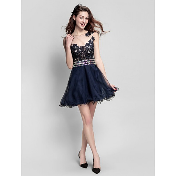 Homecoming A-line/Princess Jewel Short/Mini Tulle Cocktail Dress Special Occasion Dresses