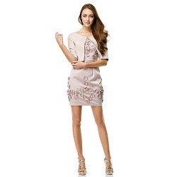 Cocktail Party Dress Pearl Pink Sheath Column Straps Short Mini Charmeuse