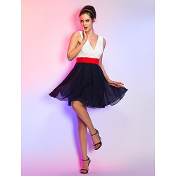 Short/Mini Chiffon Bridesmaid Dress - Multi-color Apple / Hourglass / Inverted Triangle / Pear / Rectangle / Plus Sizes / Petite / Misses