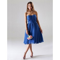 Tea-length Chiffon Bridesmaid Dress - Royal Blue Plus Sizes / Petite A-line / Princess Strapless / Sweetheart