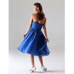 Tea-length Chiffon Bridesmaid Dress - Royal Blue Plus Sizes / Petite A-line / Princess Strapless / Sweetheart Special Occasion Dresses