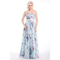 Formal Evening Dress Print Sheath Column Sweetheart Floor Length Chiffon