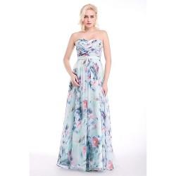 Formal Evening Dress - Print Sheath/Column Sweetheart Floor-length Chiffon