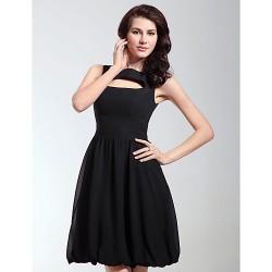 Cocktail Party / Holiday Dress - Black Plus Sizes / Petite A-line / Princess Bateau Knee-length Chiffon