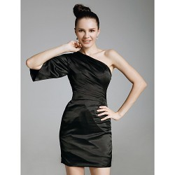 Cocktail Party Holiday Dress Black Plus Sizes Petite Sheath Column One Shoulder Short Mini Charmeuse