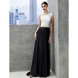 Formal Evening Dress Multi Color A Line Bateau Sweep Brush Train Tulle Jersey