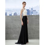 Formal Evening Dress - Multi-color A-line Bateau Sweep/Brush Train Tulle/Jersey Special Occasion Dresses