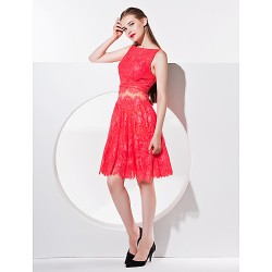 Homecoming Cocktail Party Dress - A-line Bateau Knee-length Lace