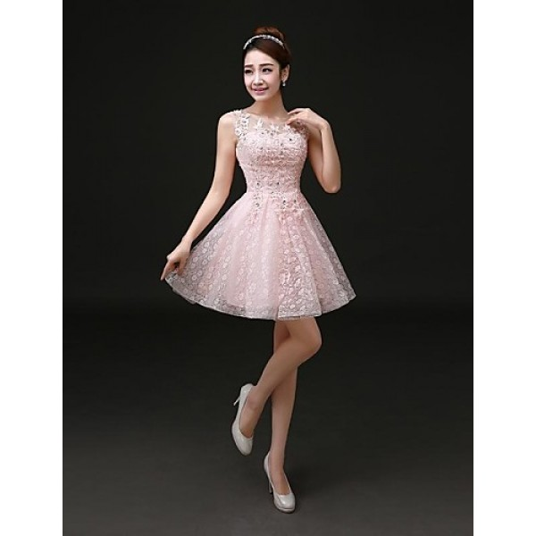 Cocktail Party Dress - Blushing Pink Plus Sizes A-line Jewel Short/Mini Lace Special Occasion Dresses