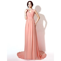 Formal Evening Dress - Pearl Pink Plus Sizes / Petite Sheath/Column Floor-length / Court Train