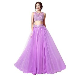 Formal Evening Dress - Lilac Plus Sizes / Petite A-line Jewel Floor-length